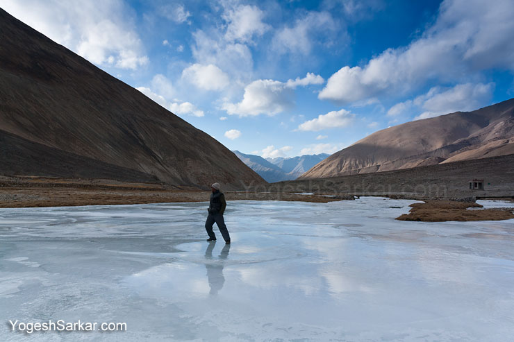 Frozen river in the winter of Ladakh