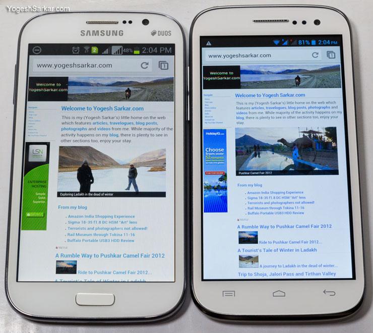 Samsung Galaxy Grand Duos and Micromax Canvas HD A116 screen comparison