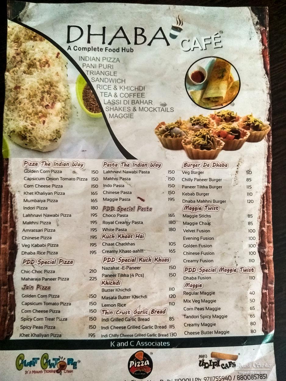 Dhaba Food Menu