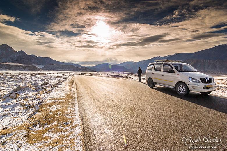 Srinagar - Leh Highway after light snowfall in October end.