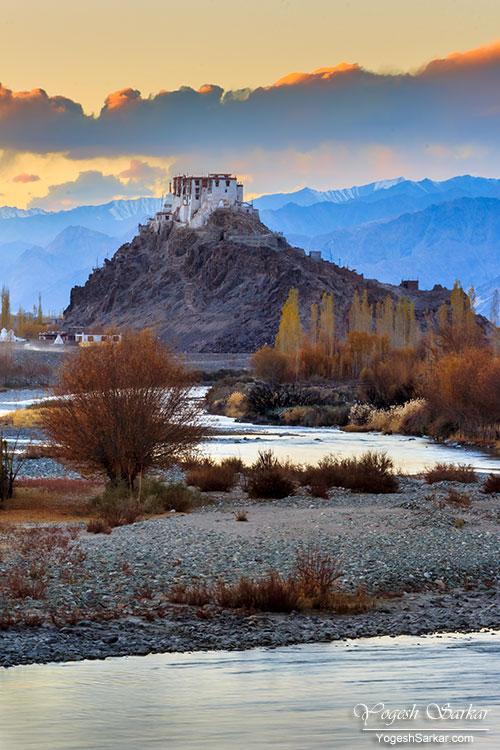 Stakna Monastery at sunset